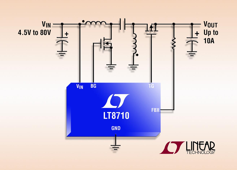 加利福尼亚州米尔皮塔斯 (MILPITAS, CA) – 2014 年 1 月 28 日 – 凌力尔特公司 (Linear Technology Corporation) 推出首款同步 SEPIC、负输出、升压和反激式多拓扑 DC/DC 控制器 LT8710。这款同步器件采用高效率 P 沟道 MOSFET 取代输出二极管,从而提高了效率和最大输出电流 (高达 10A),并无需中到高功率应用通常所需的散热器,使 LT8710 成为非常通用的器件以适合多种电源设计。    LT8