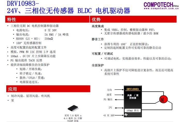 drv10983新一代24v三相无传感电机驱动器
